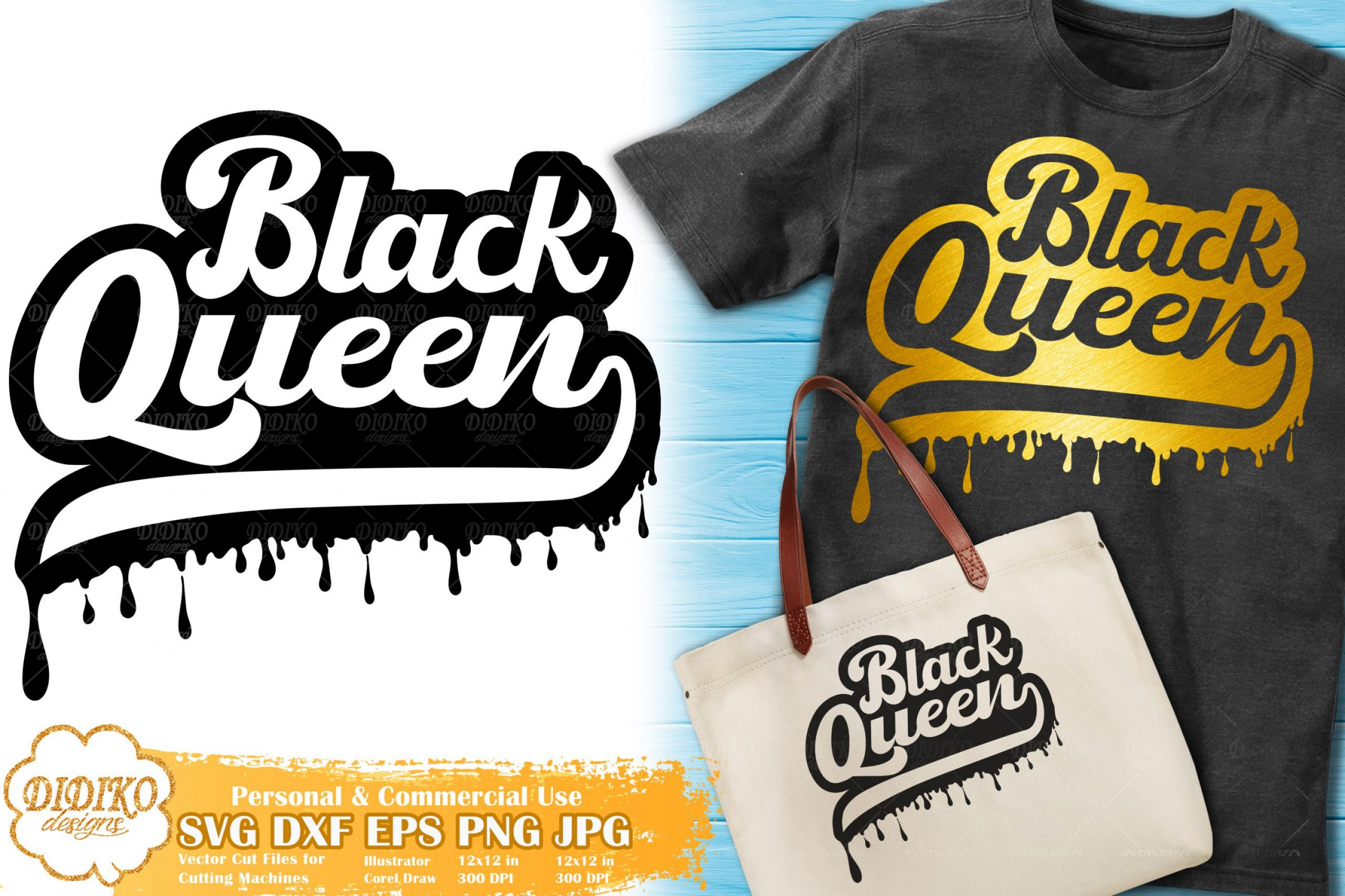 Black Queen SVG #6 | Dripping svg | Black Woman retro