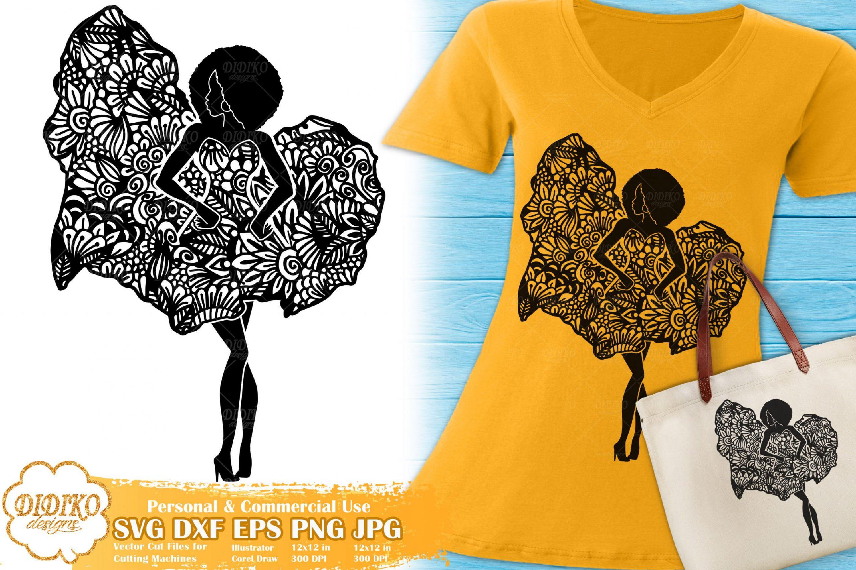 Black Woman Fashion SVG #6 | Zentangle Woman SVG