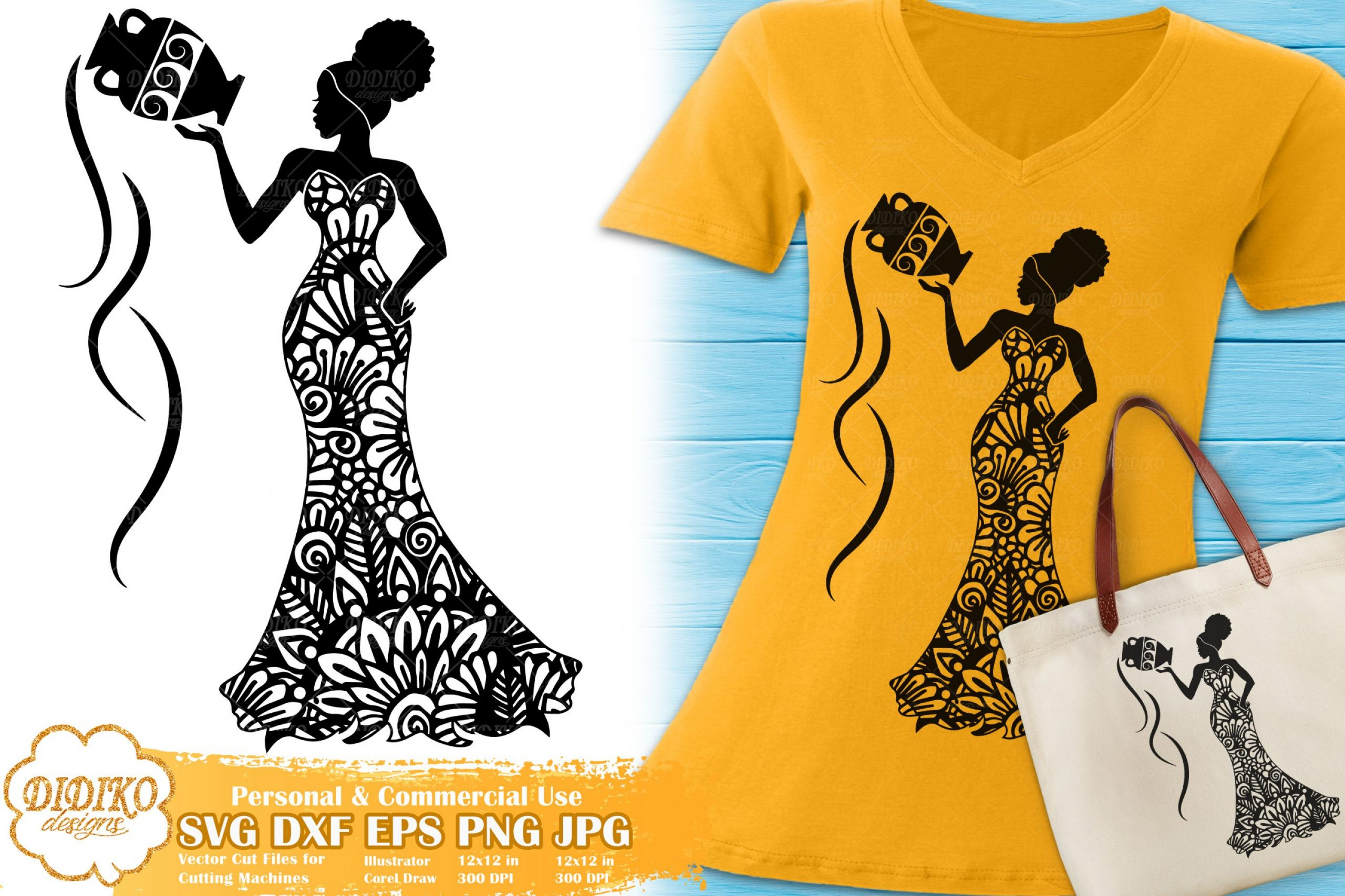 Aquarius SVG | Black Woman SVG | Zentangle Cut File