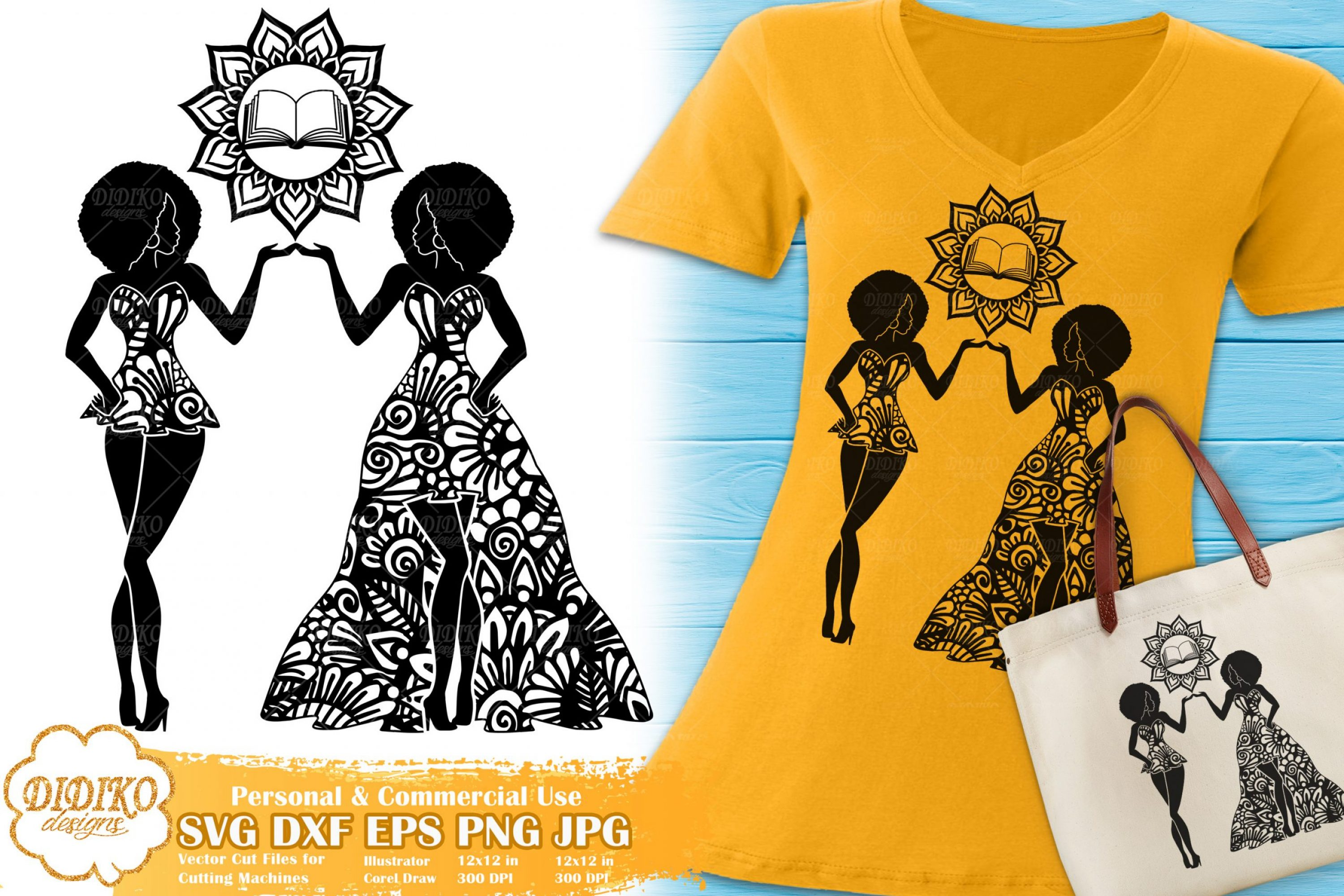 Gemini SVG | Black Woman SVG | Zentangle Cricut File