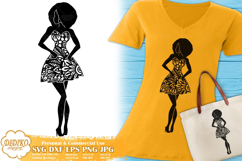 Black Woman Fashion SVG #1 | Zentangle Woman SVG