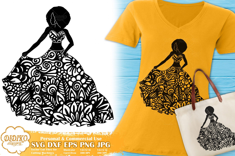 Black Woman Fashion SVG #3 | Zentangle Woman SVG