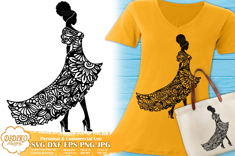 Black Woman Fashion SVG #4 | Zentangle Woman SVG