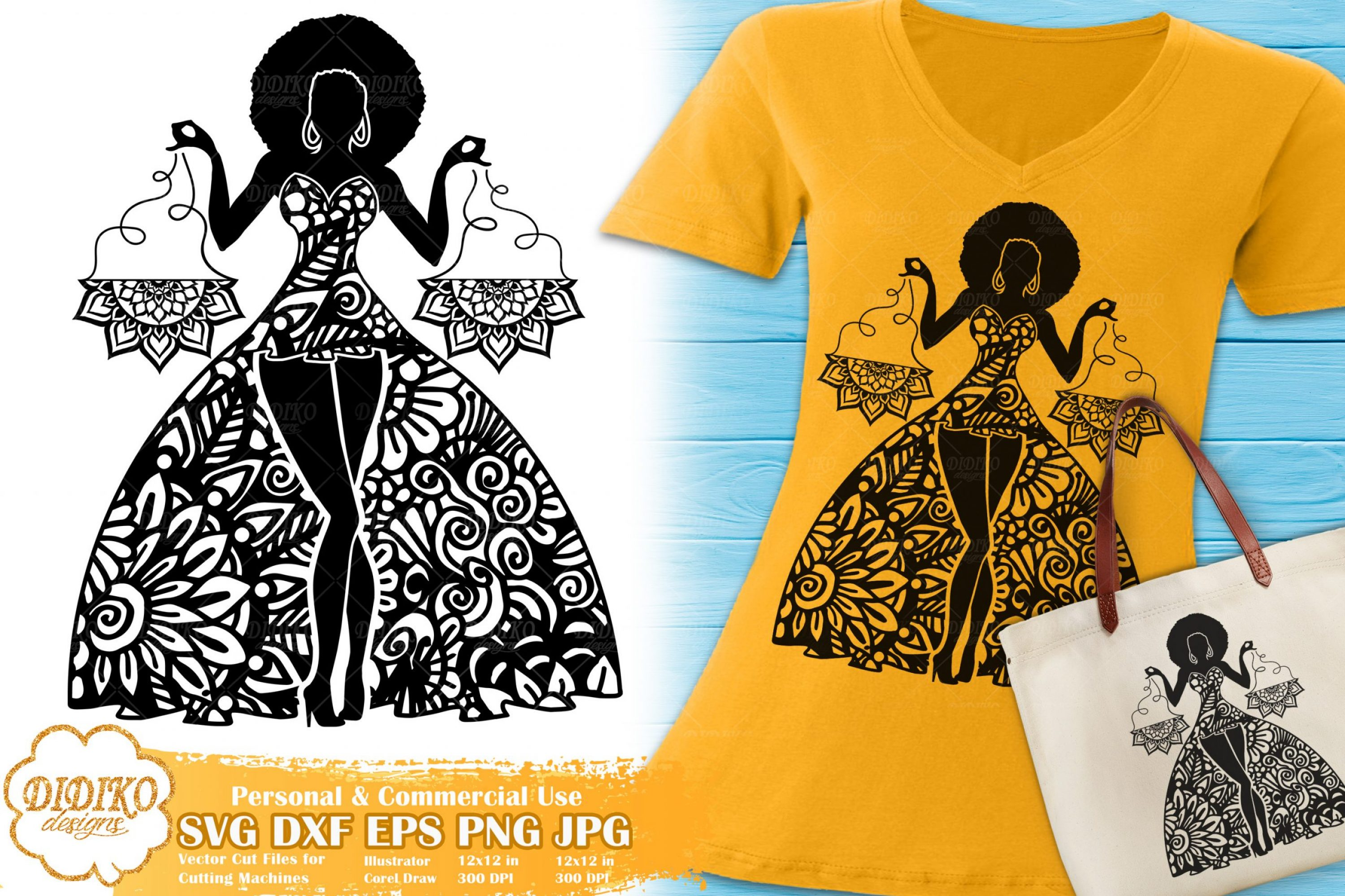 Libra SVG | Black Woman SVG | Zentangle Cricut File