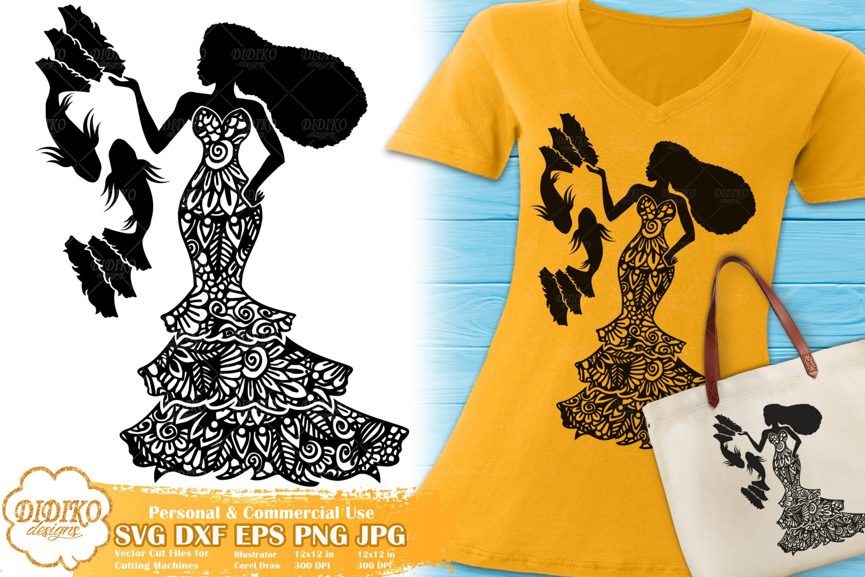 Pisces SVG   Black Woman SVG   Zentangle Cricut File