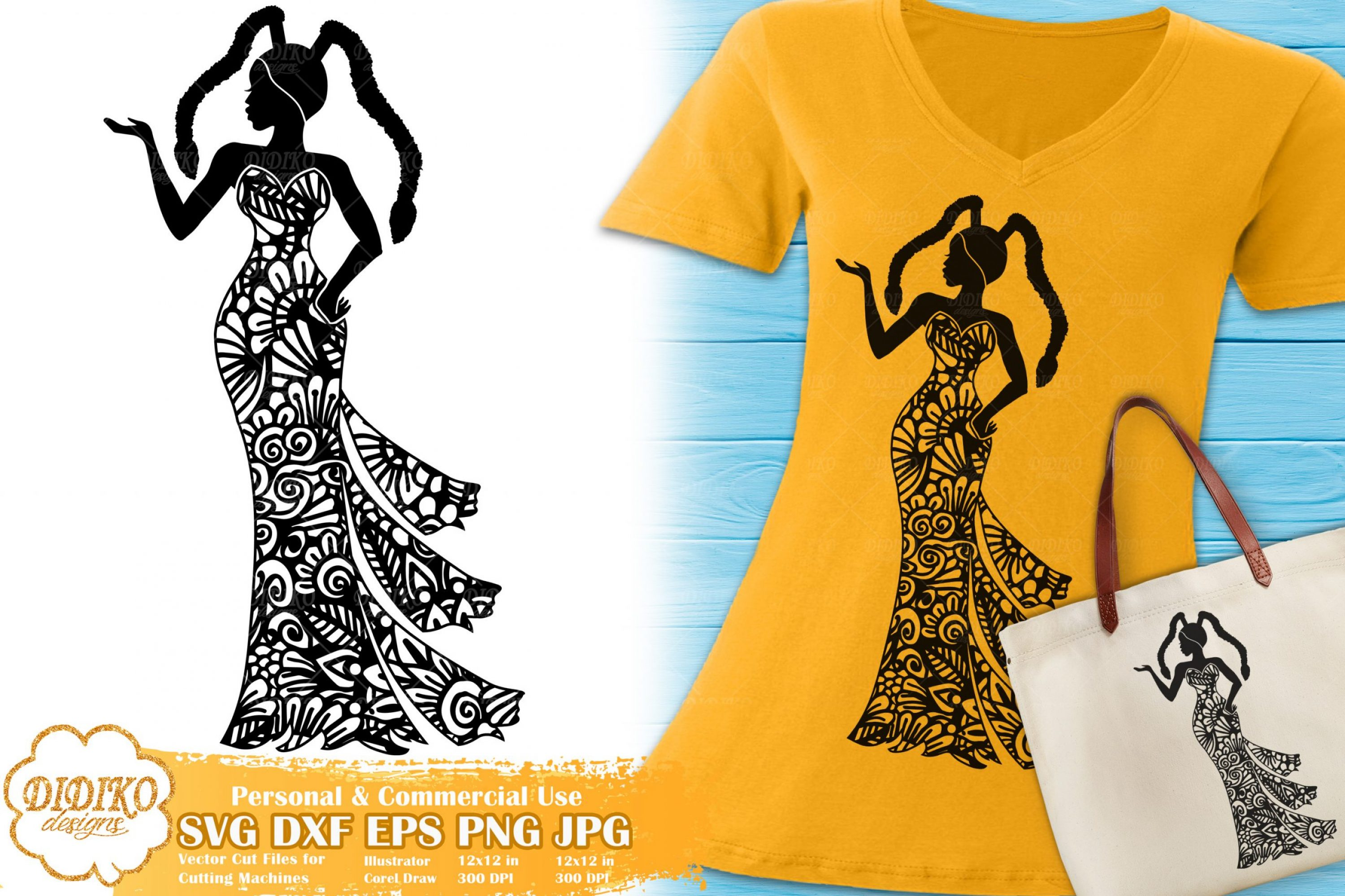 Black Woman Fashion SVG #21 | Zentangle Woman svg