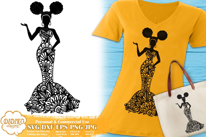 Black Woman Fashion SVG #22   Zentangle Woman svg