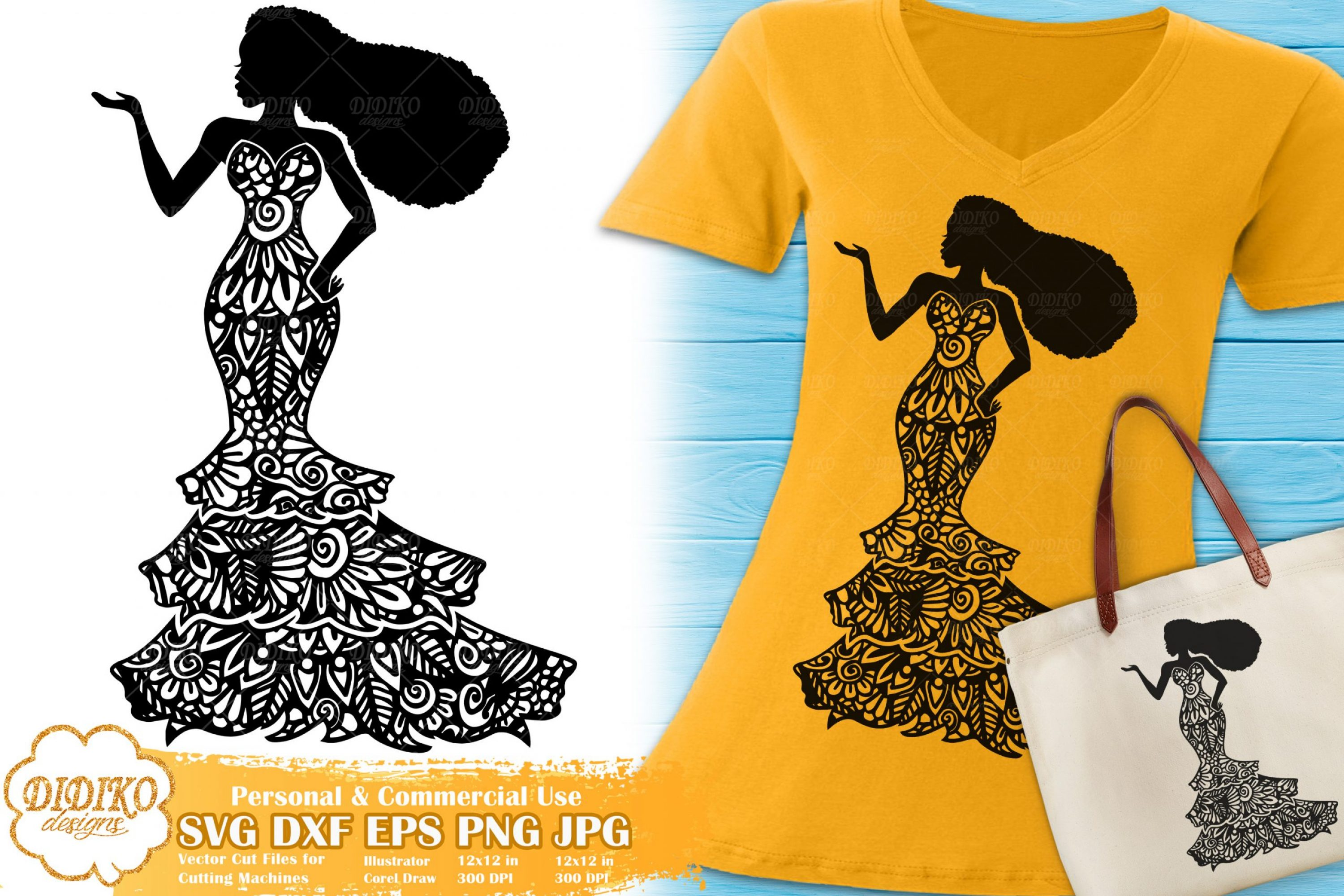 Black Woman Fashion SVG #23 | Zentangle Woman svg