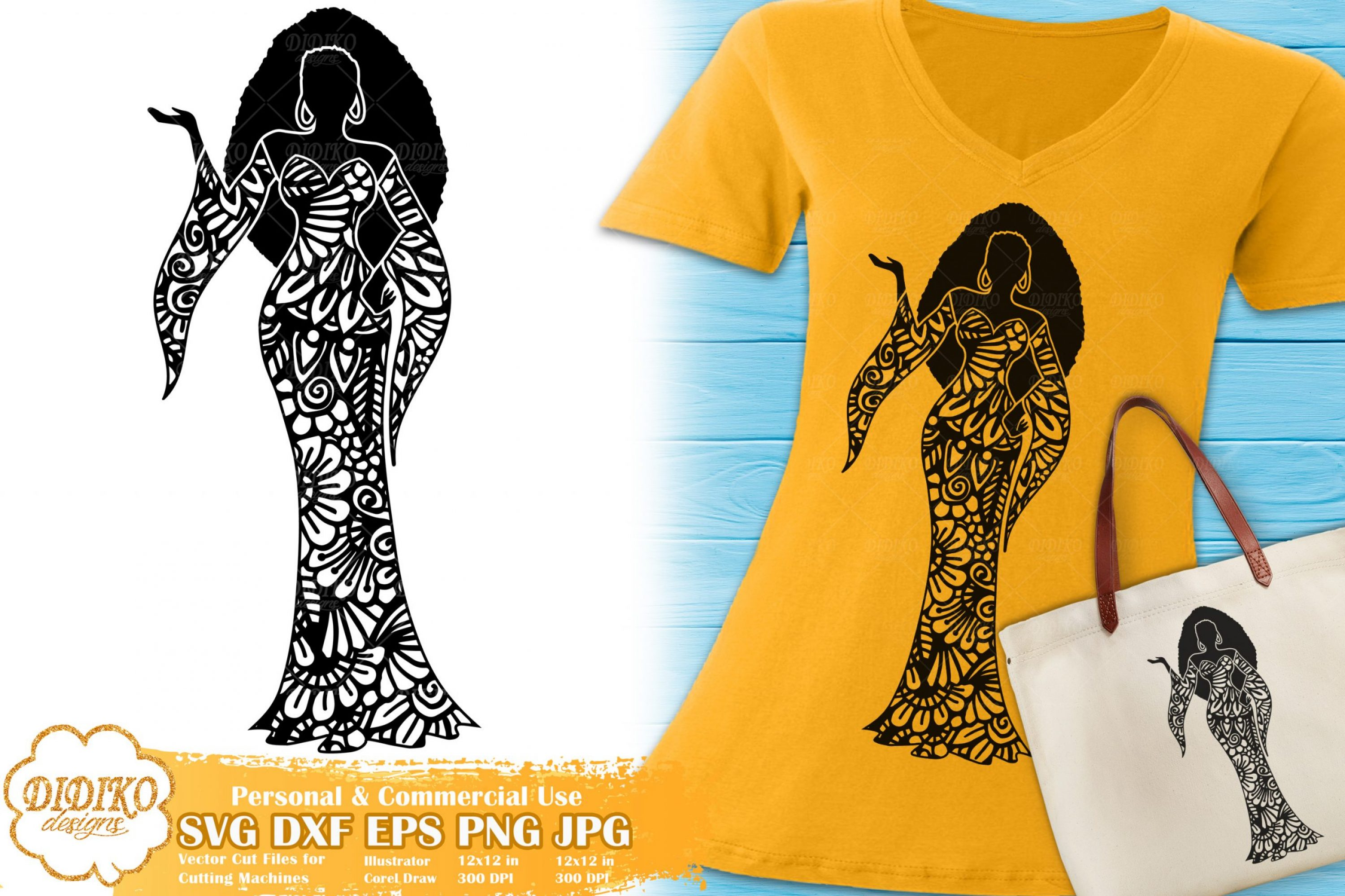 Black Woman Fashion SVG #24 | Zentangle Woman svg