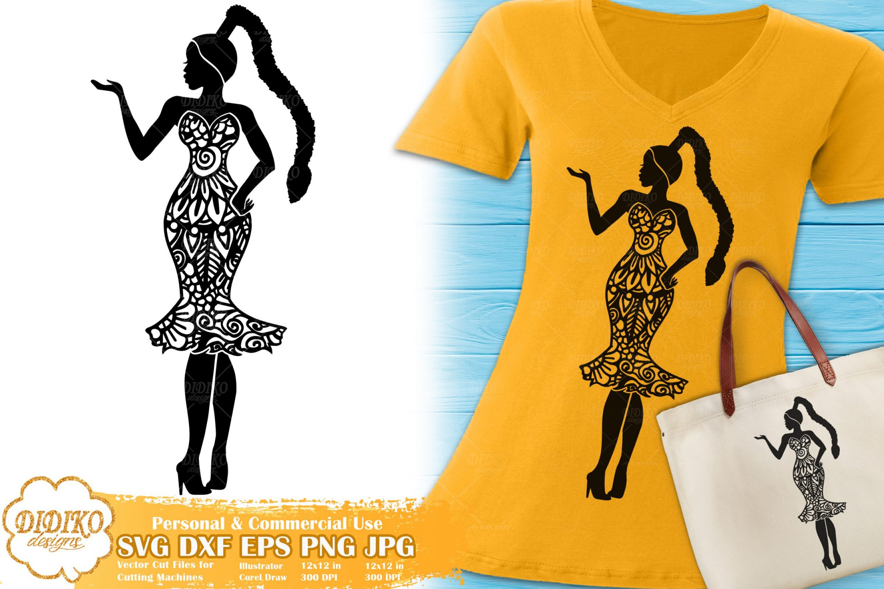 Black Woman Fashion SVG #20 | Zentangle Woman svg