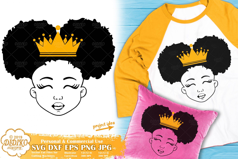 Black Girl with Crown SVG #1 | Afro Princess SVG