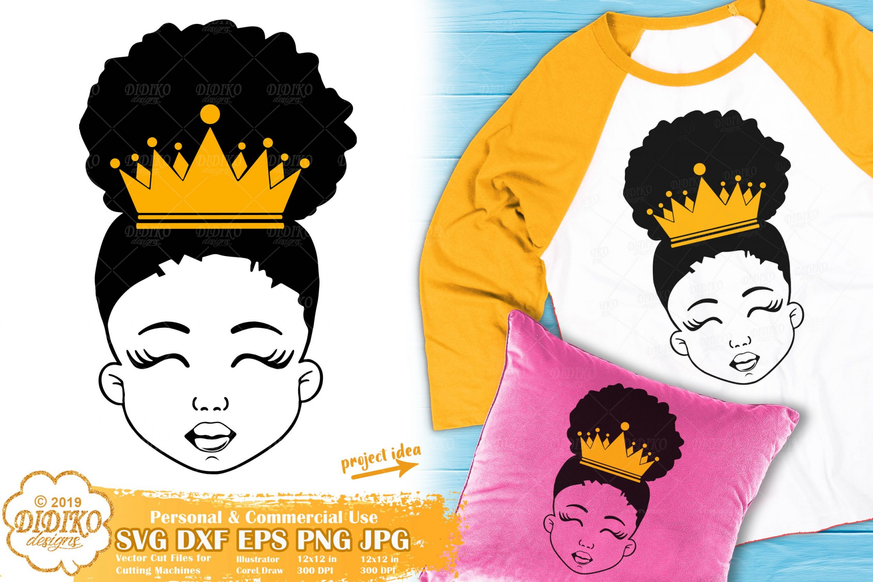 Black Girl with Crown SVG #2 | Afro Princess SVG