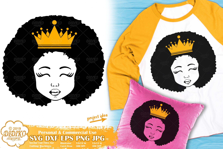Black Girl with Crown SVG #3 | Afro Princess SVG