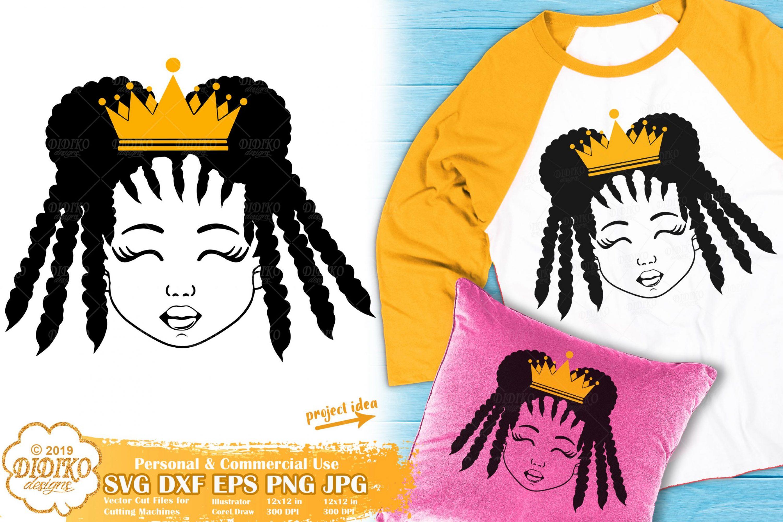 Black Girl with Crown SVG #4 | Afro Princess SVG