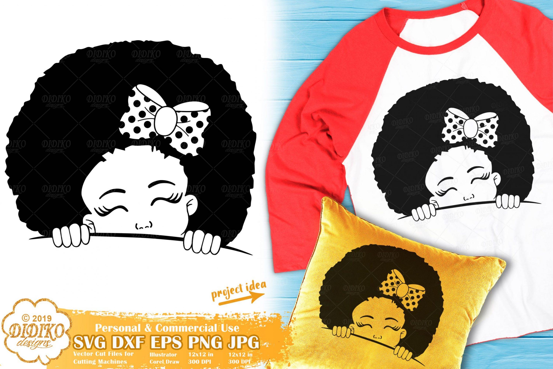 Peek a Boo SVG #3 | Black Girl SVG | Afro Peeking SVG