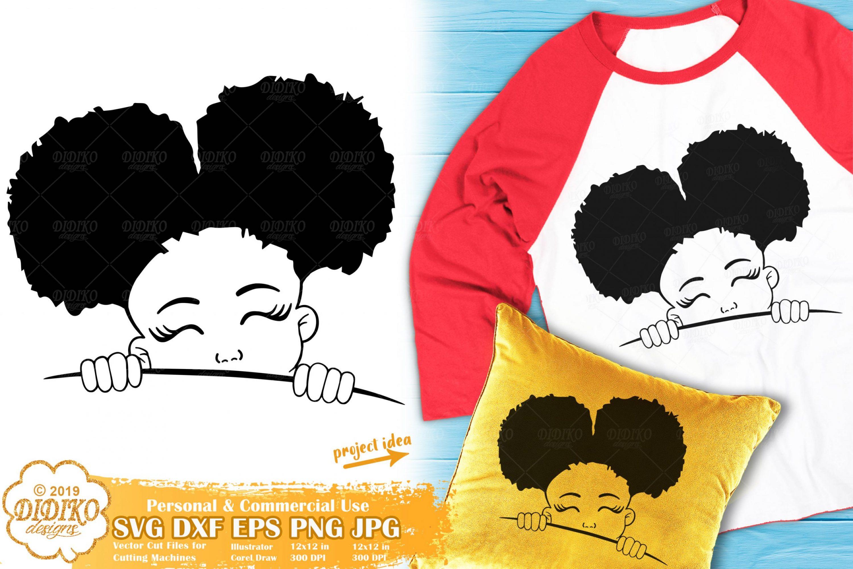 Peek a Boo SVG #13 | Black Girl Svg | Afro Peeking Svg