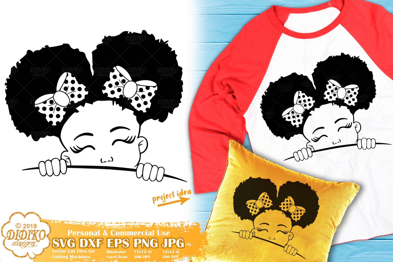 Peek a Boo SVG #1 | Black Girl SVG | Afro Peeking SVG