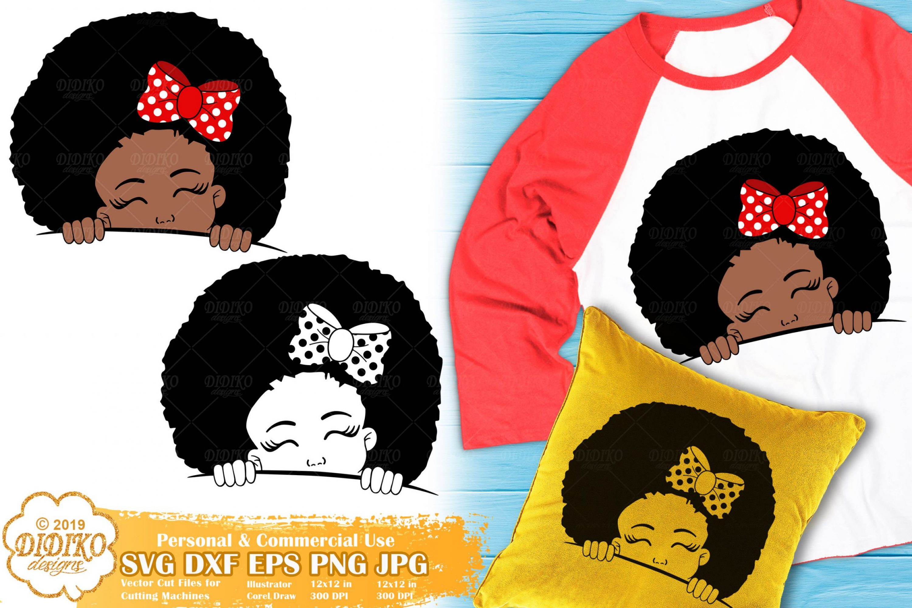 Peek a Boo Girl SVG #7 | Black Girl Svg | Afro Peeking