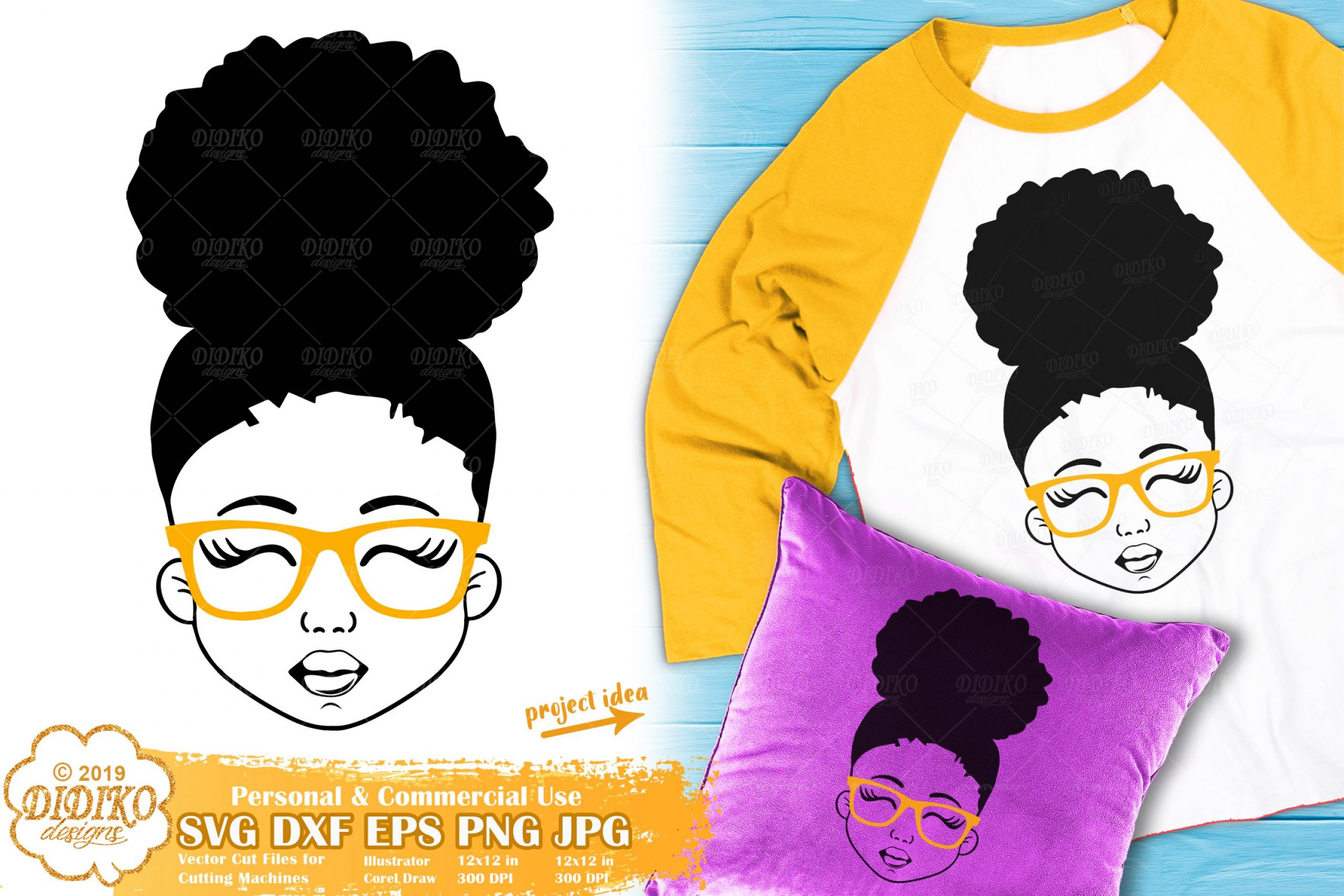 Black Girl with Glasses SVG #6   Afro Girl Svg Silhouette