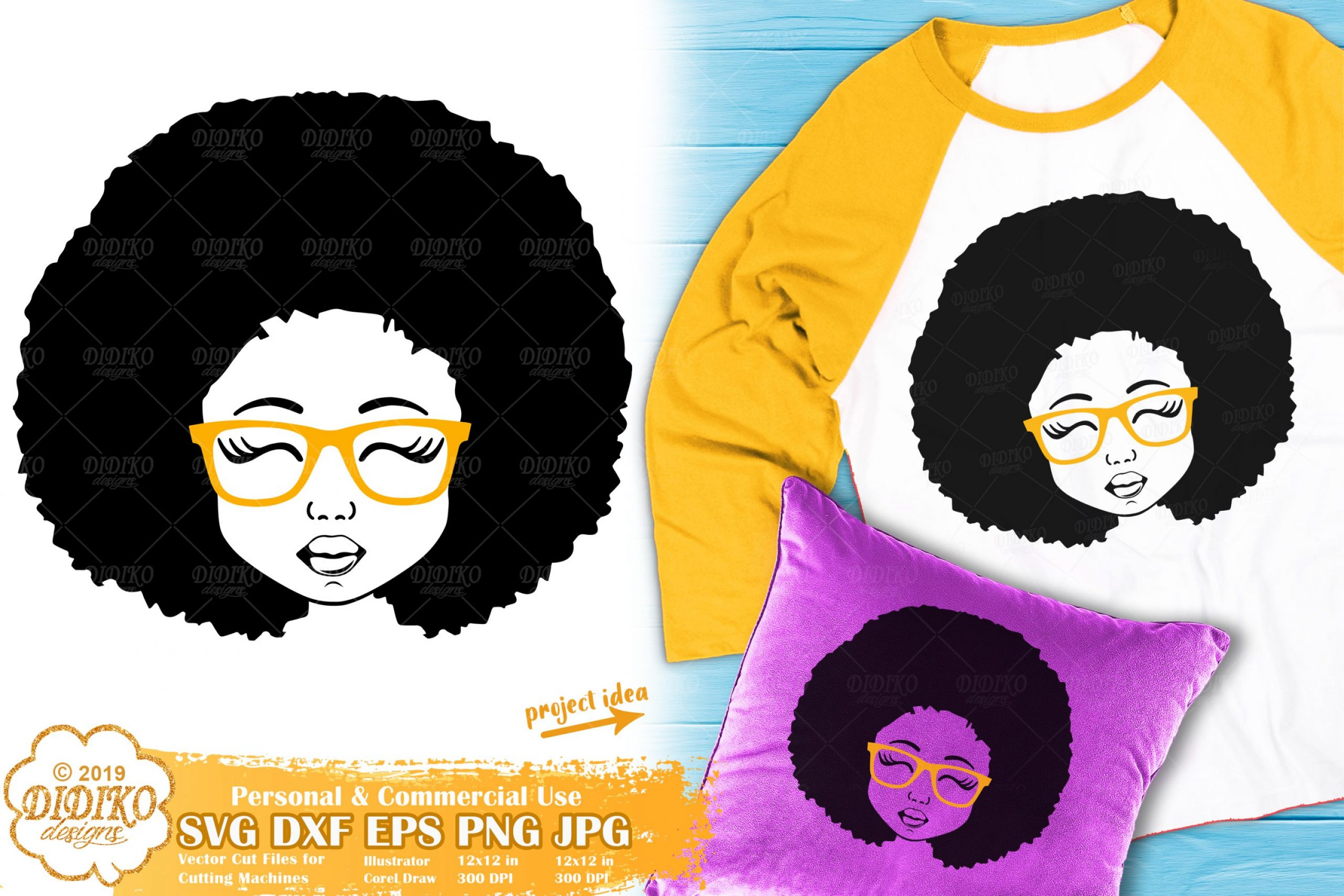 Black Girl with Glasses SVG #7 | Afro Girl Svg Silhouette