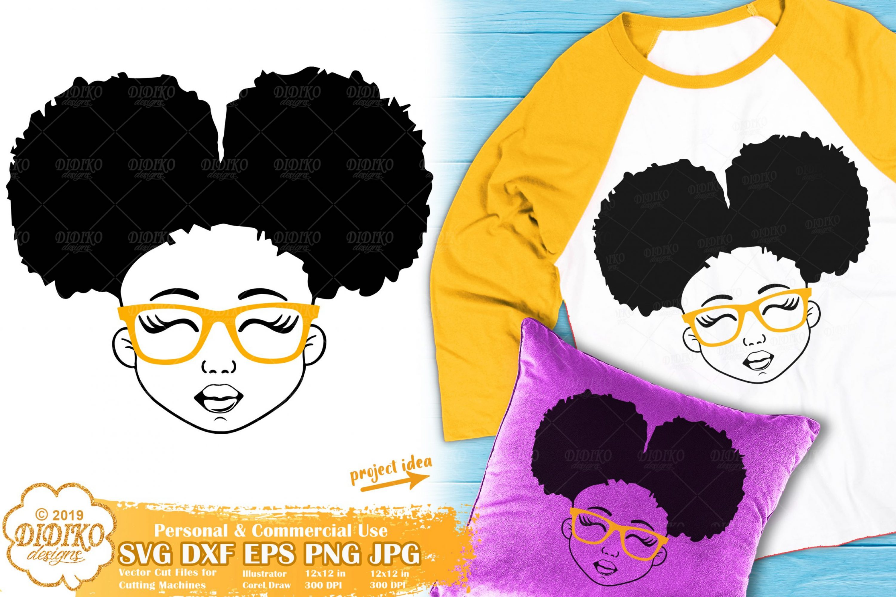 Black Girl with Glasses SVG #5 | Afro Girl Svg Silhouette
