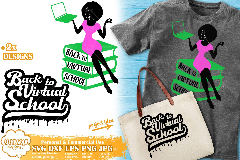 Black Teacher SVG #3 | Back To School SVG | Virtual School Cut File