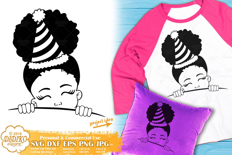 Peek a Boo SVG #6 | Birthday Girl SVG | Black Girl SVG