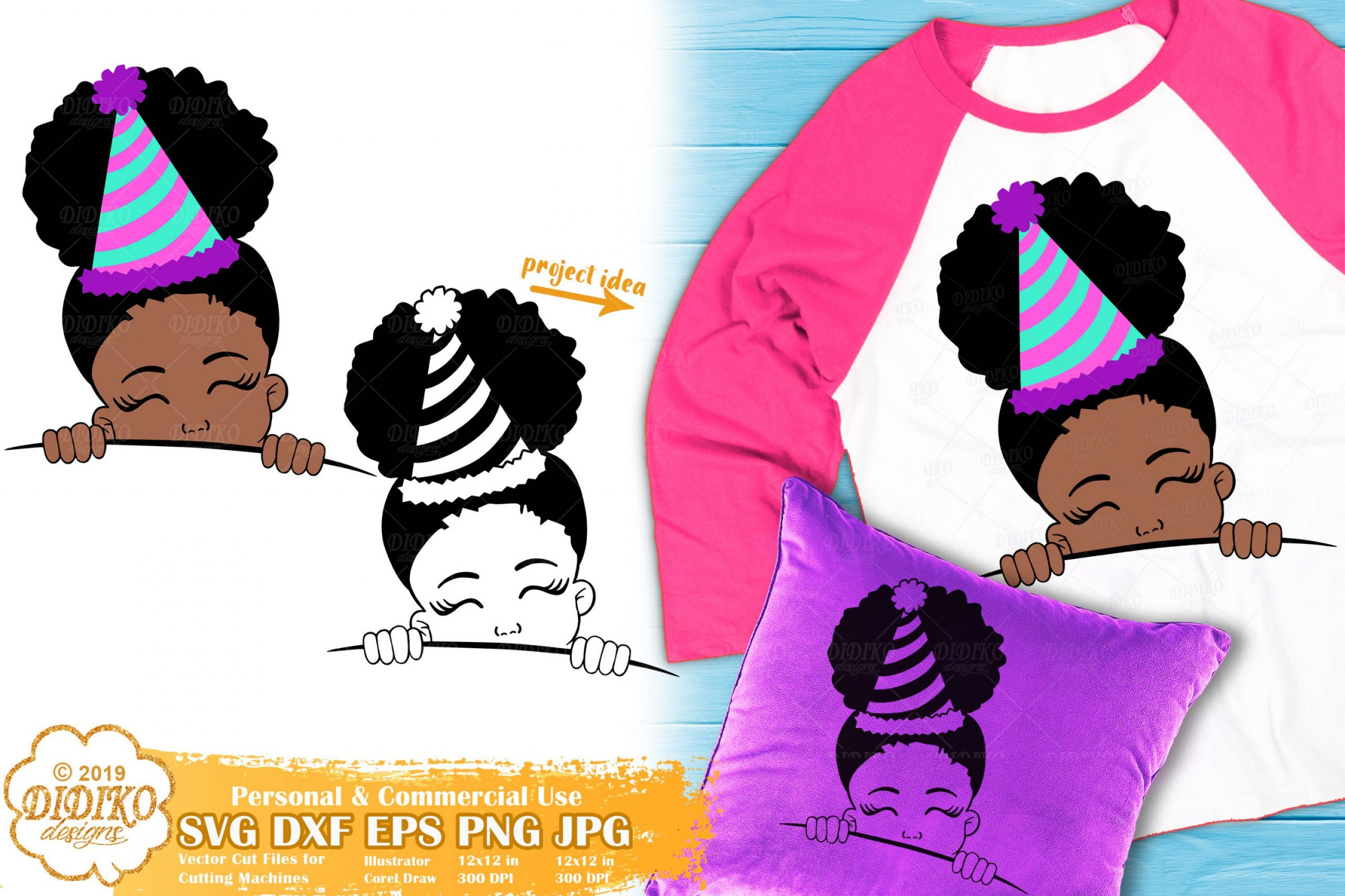 Peek a Boo Girl SVG #10 | Birthday SVG | Black Girl Svg