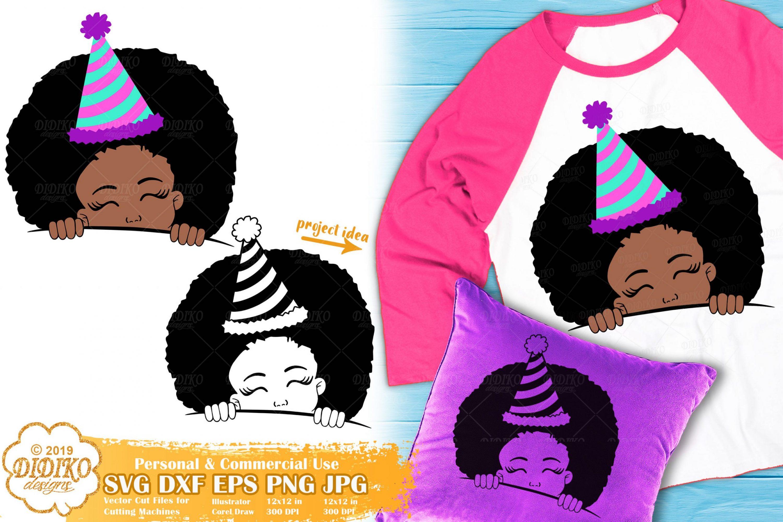 Peek a Boo Girl SVG #11 | Birthday SVG | Black Girl Svg