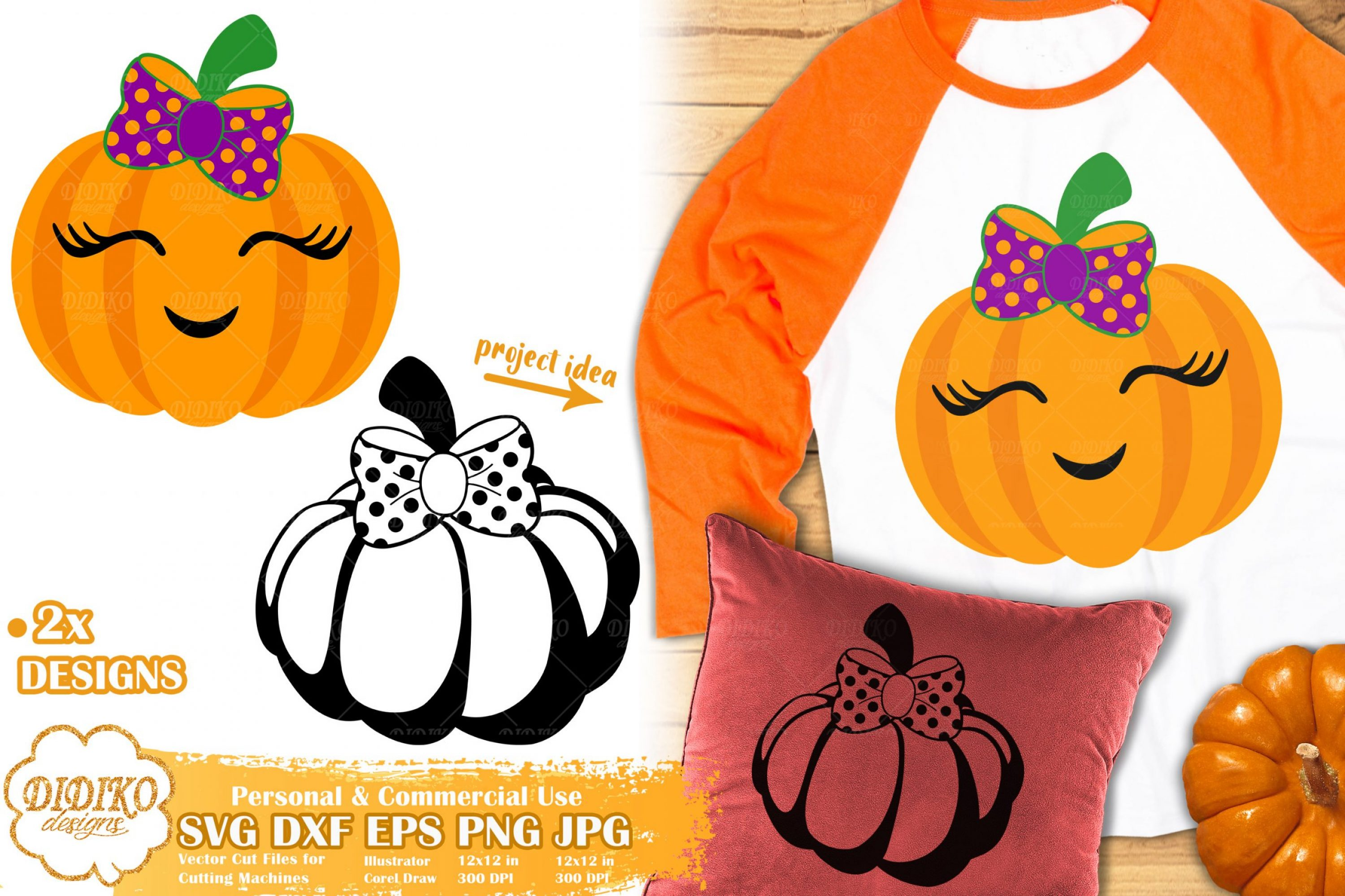 Pumpkin Girl Svg Halloween Svg Cute Pumpkin Svg Didiko Designs
