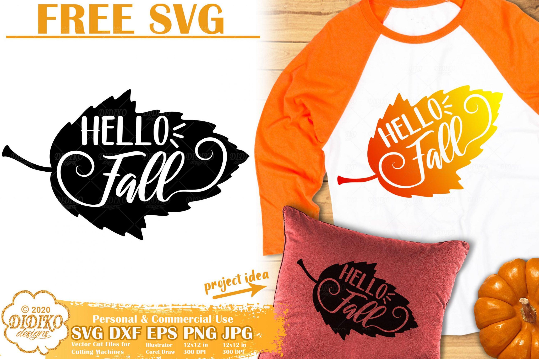 Free Fall SVG | Hello Fall SVG | Autumn Leaves Cut File