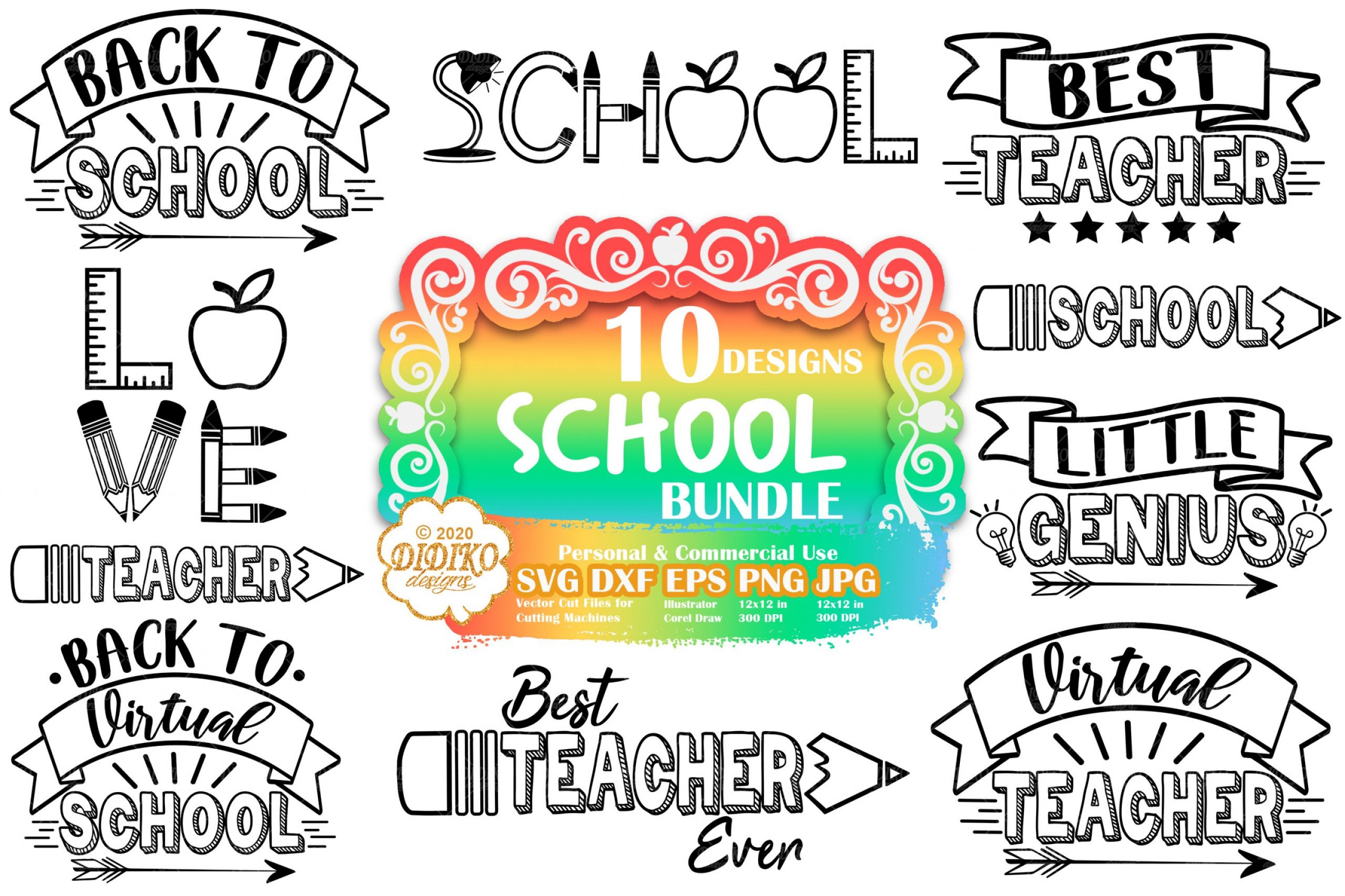 School SVG Bundle | teacher svg bundle | back to school