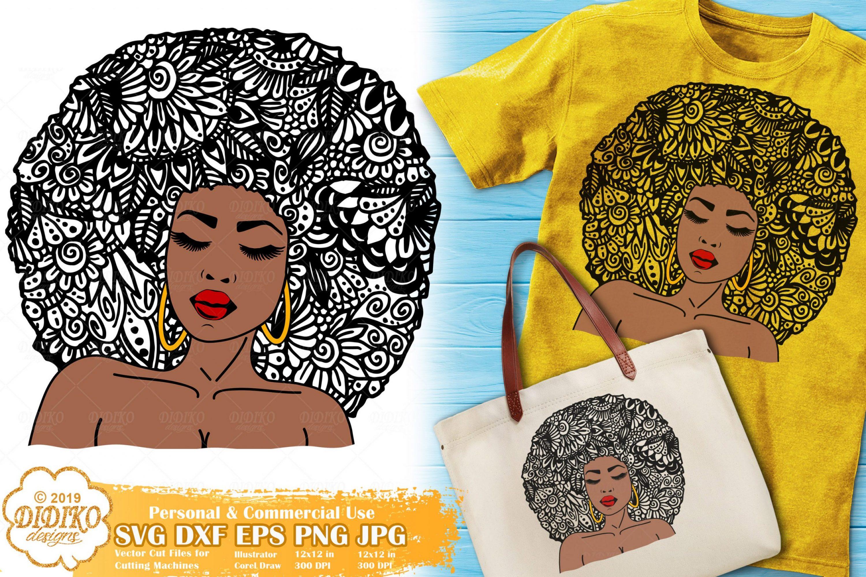 Woman Zentangle SVG #1 | Black Woman Mandala svg