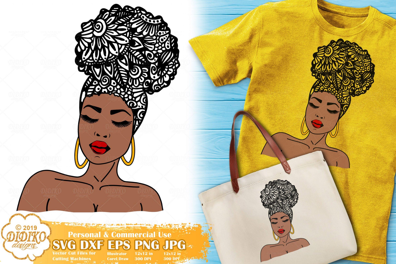 Woman Zentangle SVG #2 | Black Woman Mandala svg