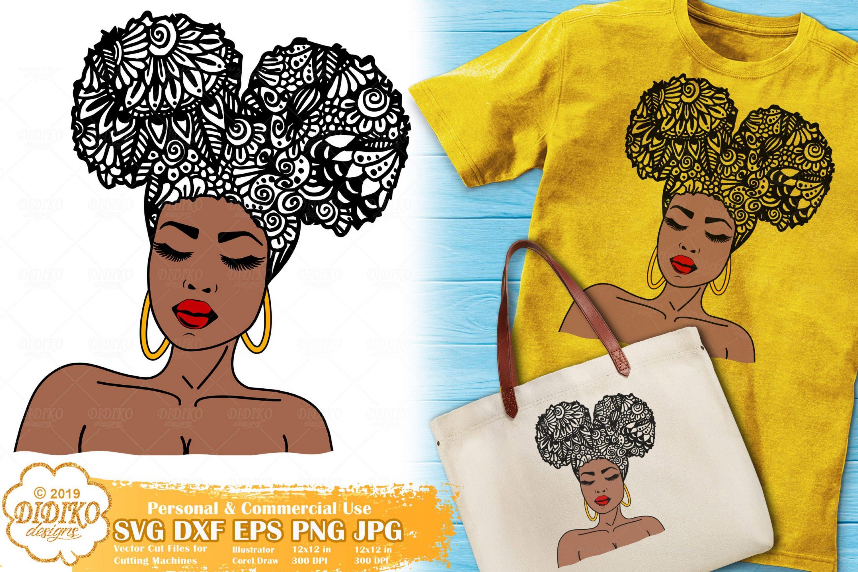 Woman Zentangle SVG #4 | Black Woman Mandala svg