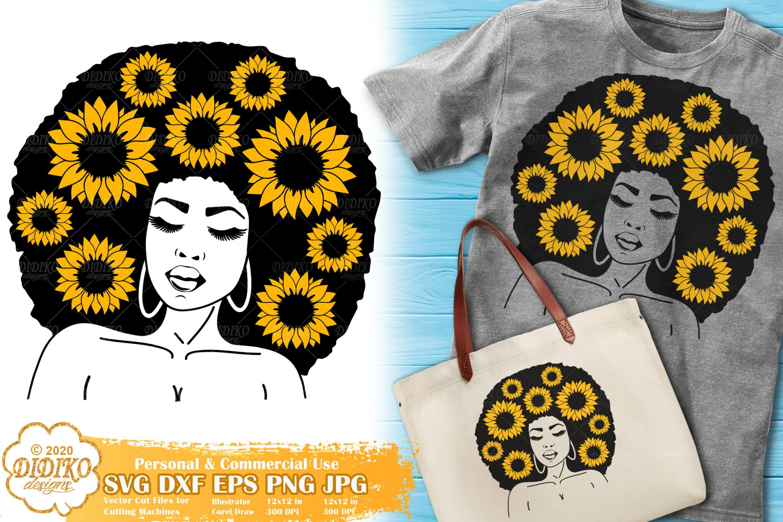 Black Woman SVG #11 | sunflower svg | afro woman svg