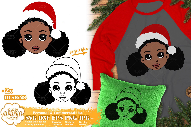 Christmas Black Girl SVG #1 | African American Girl Svg
