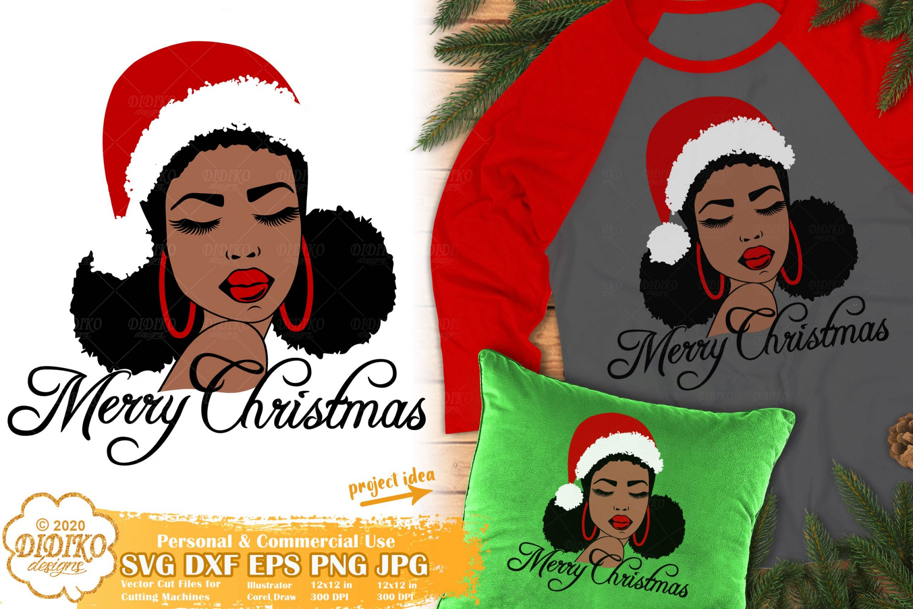 Christmas Black Woman SVG #2 | African American Svg