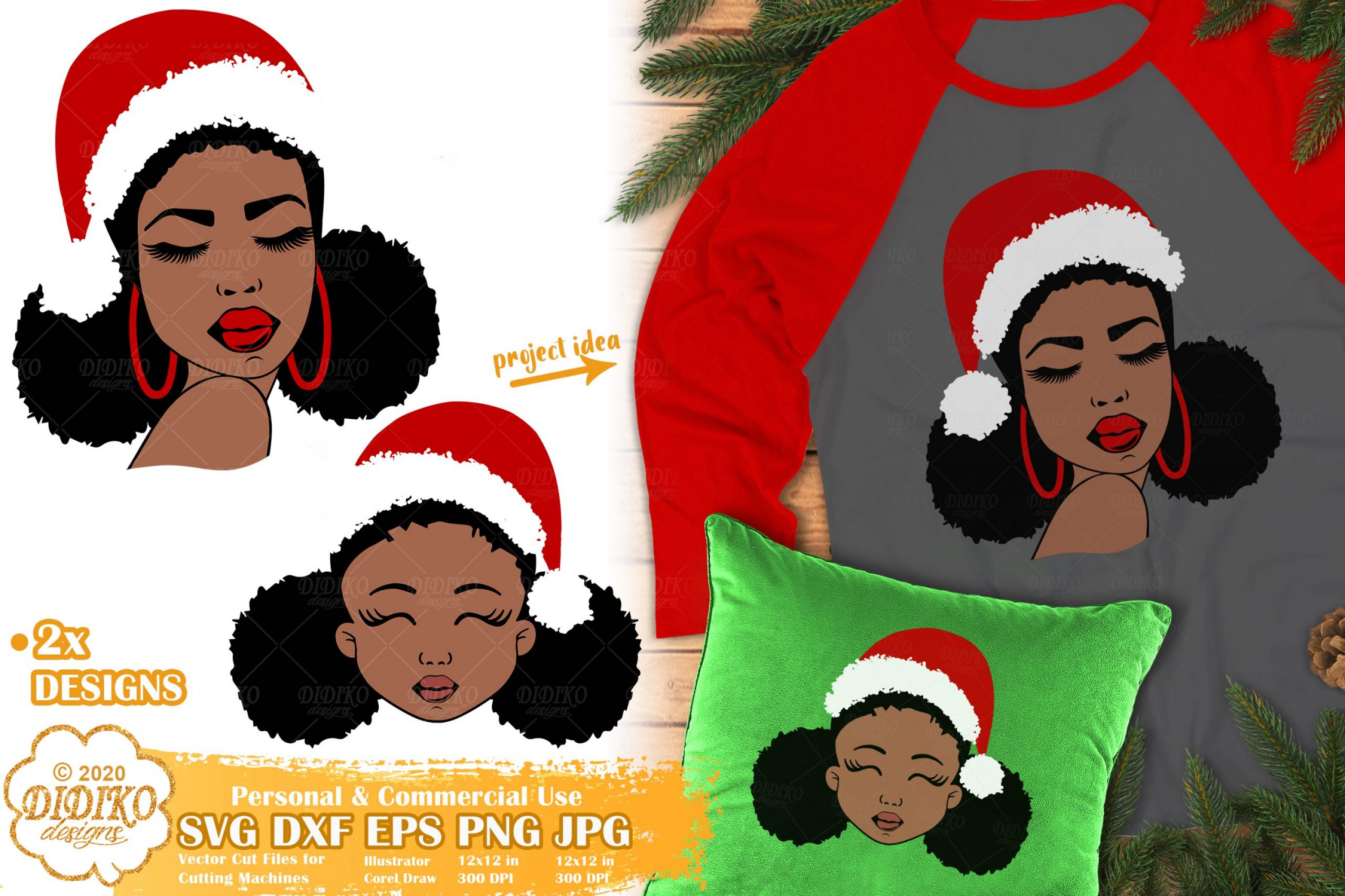 Christmas Black Woman SVG | mother and daughter svg
