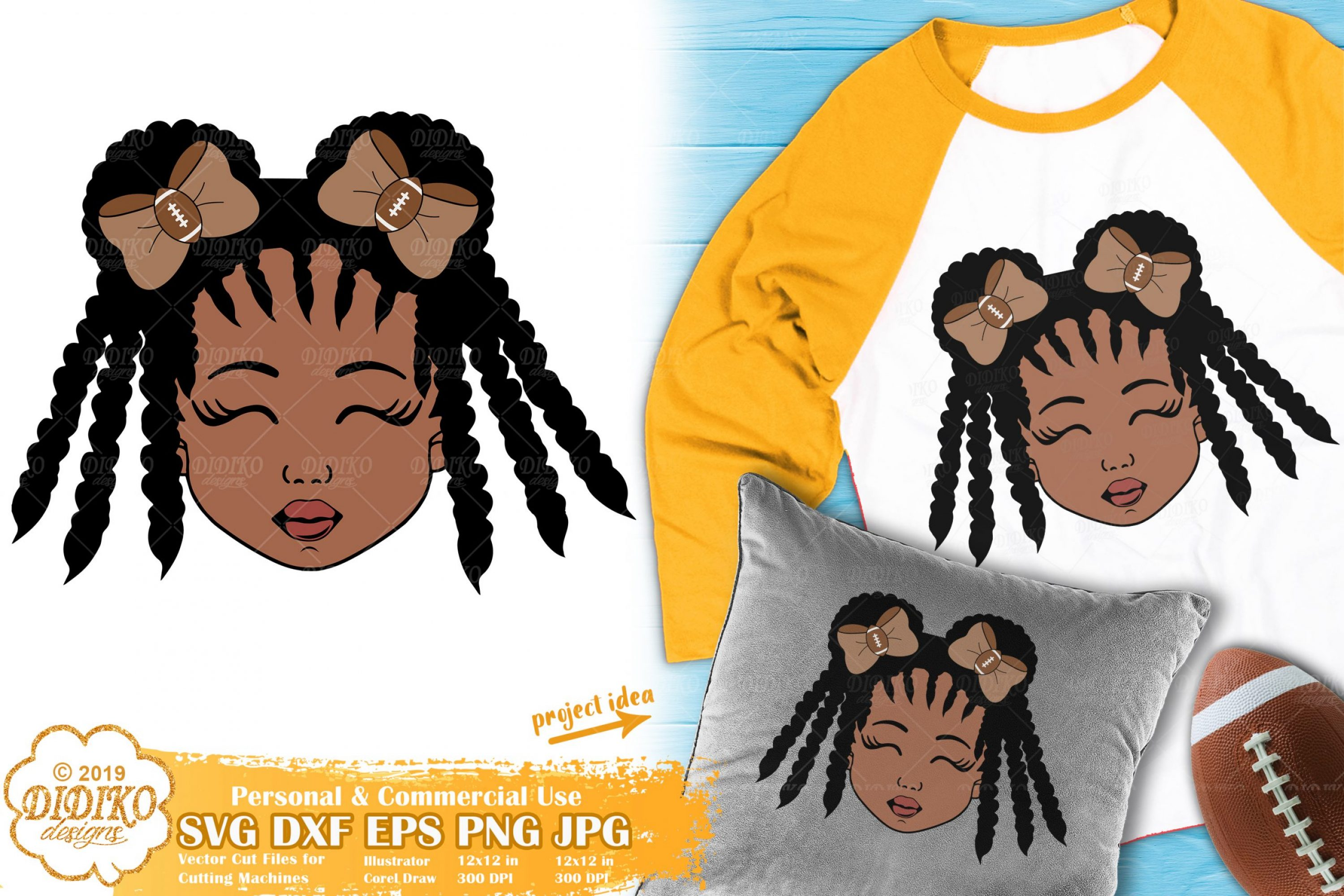 Football Girl SVG #1 | Black Girl Svg | Football sister Svg