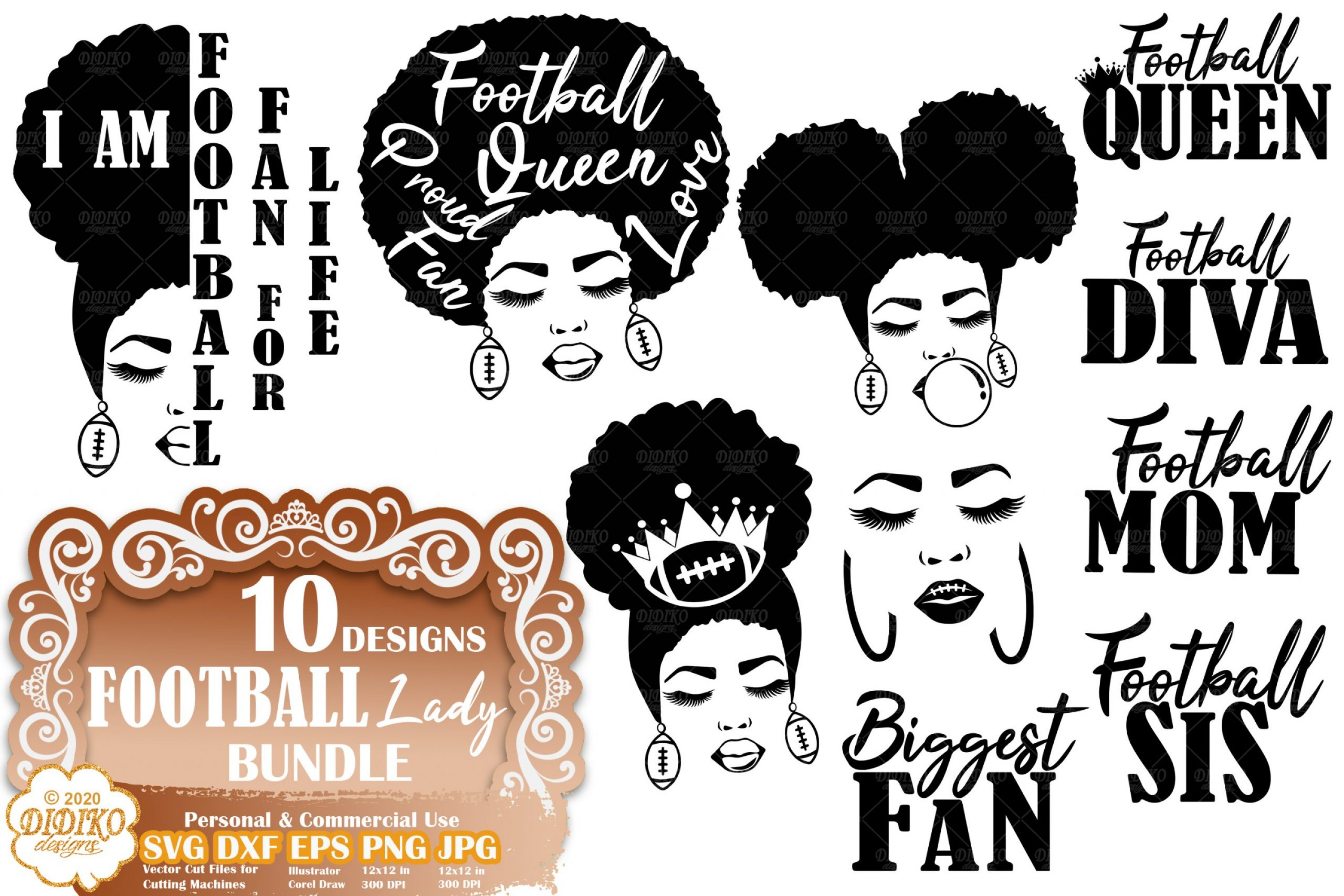 Black Woman SVG Bundle #1 | Football SVG Bundle File