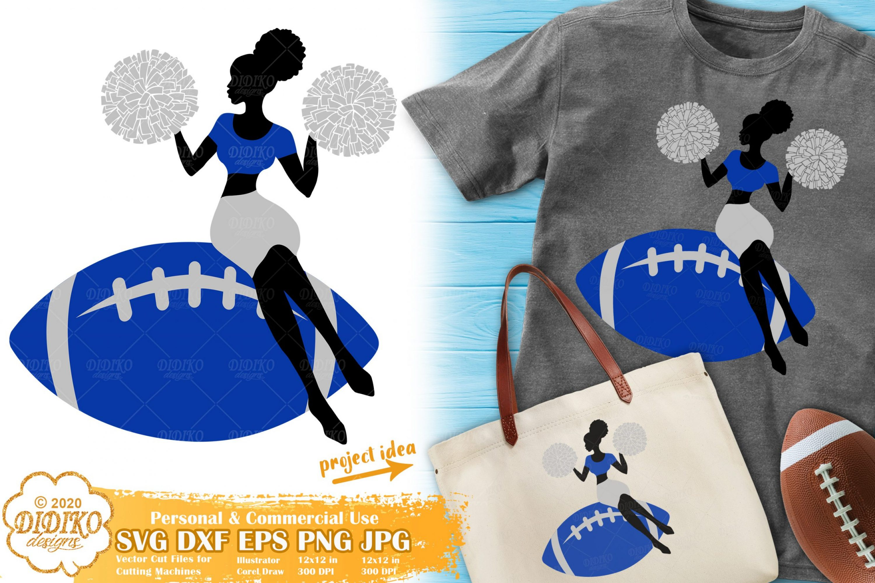 Cheerleader SVG | Black Woman svg | football cheer svg