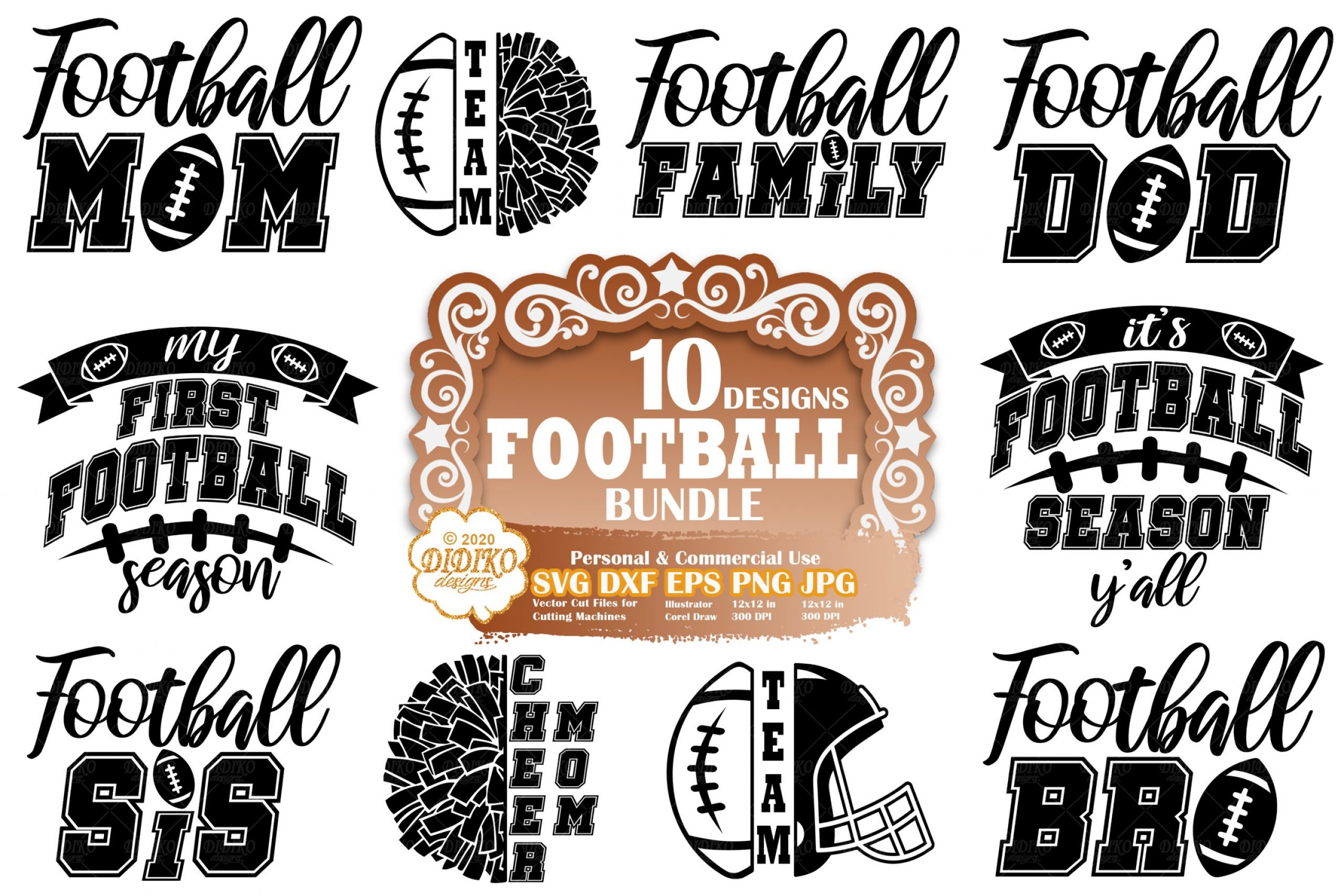 Football SVG Bundle | football family svg | game day svg