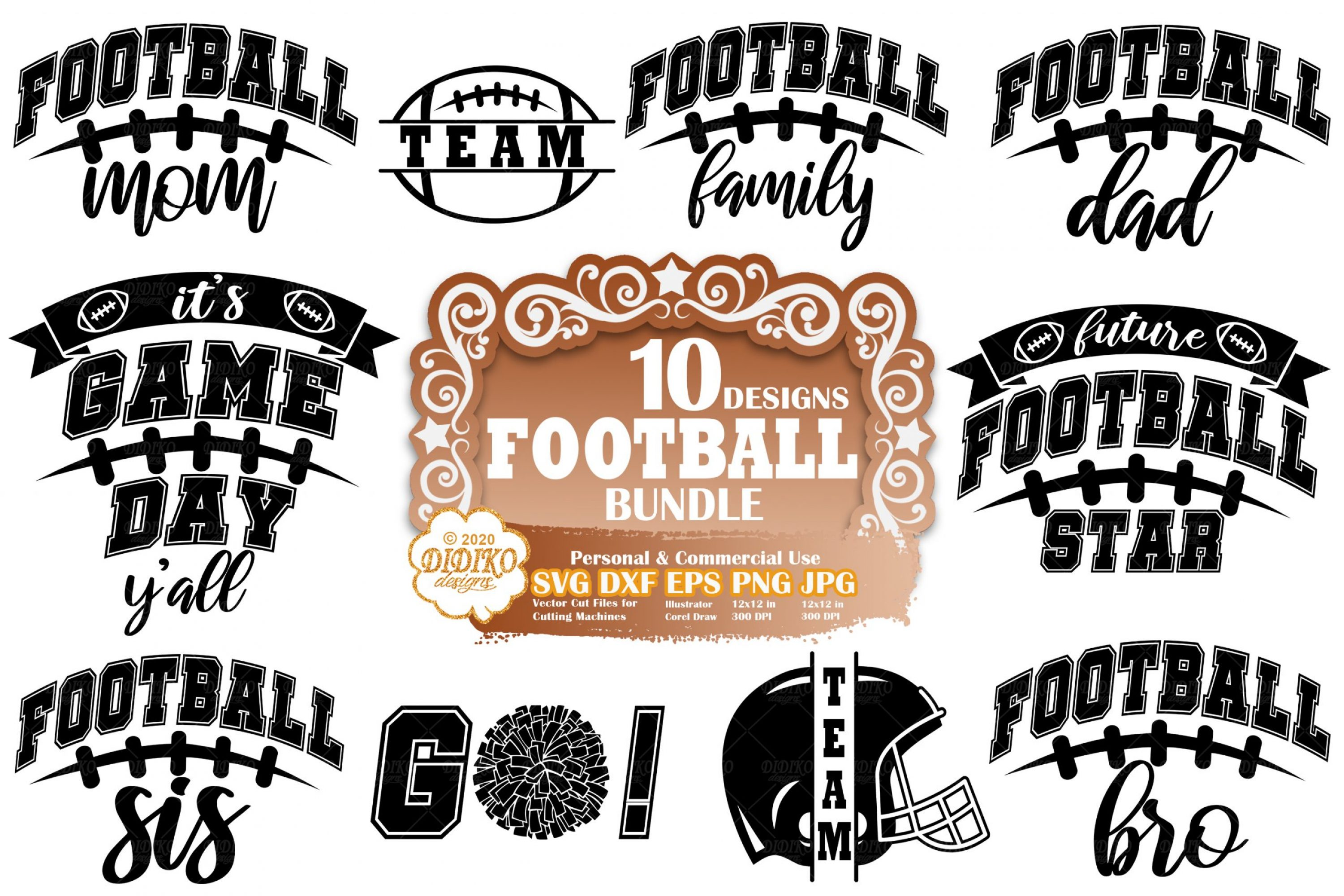 Football SVG Bundle #1 | Football Family Svg | Mom Svg