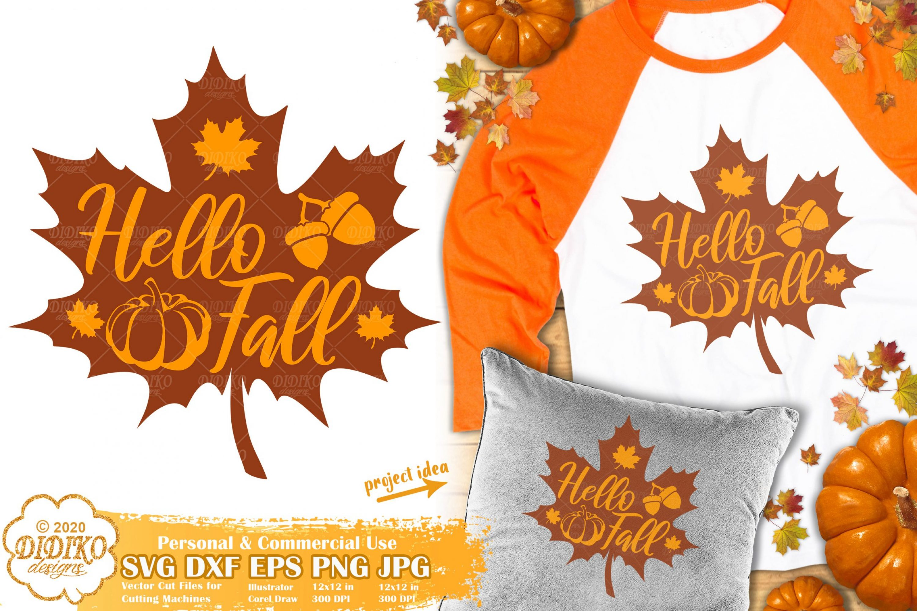 Fall Leaves SVG | Hello Fall SVG | Autumn Sign SVG