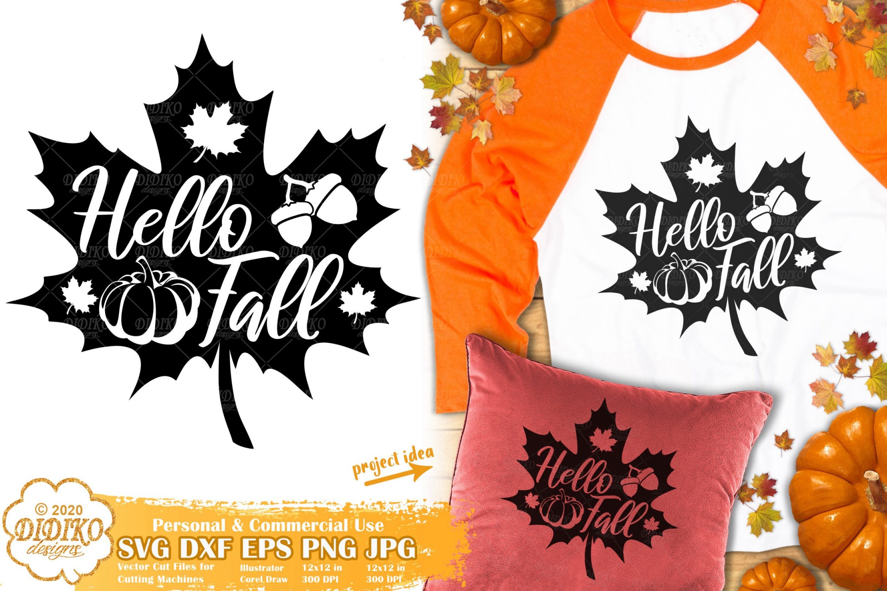 Fall Leaves SVG #1 | Hello Fall Svg | Autumn Sign Svg