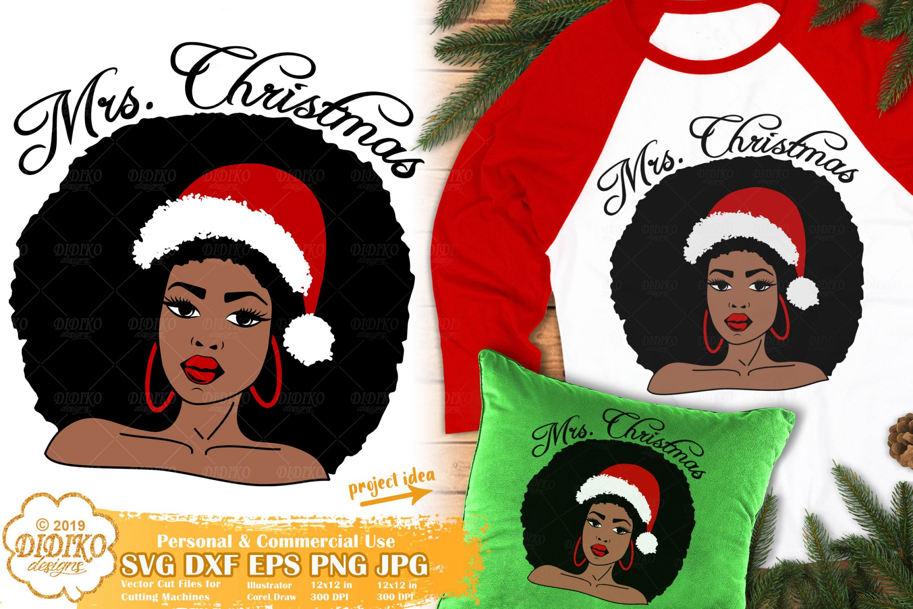 Christmas Black Woman SVG #3 | African American Svg