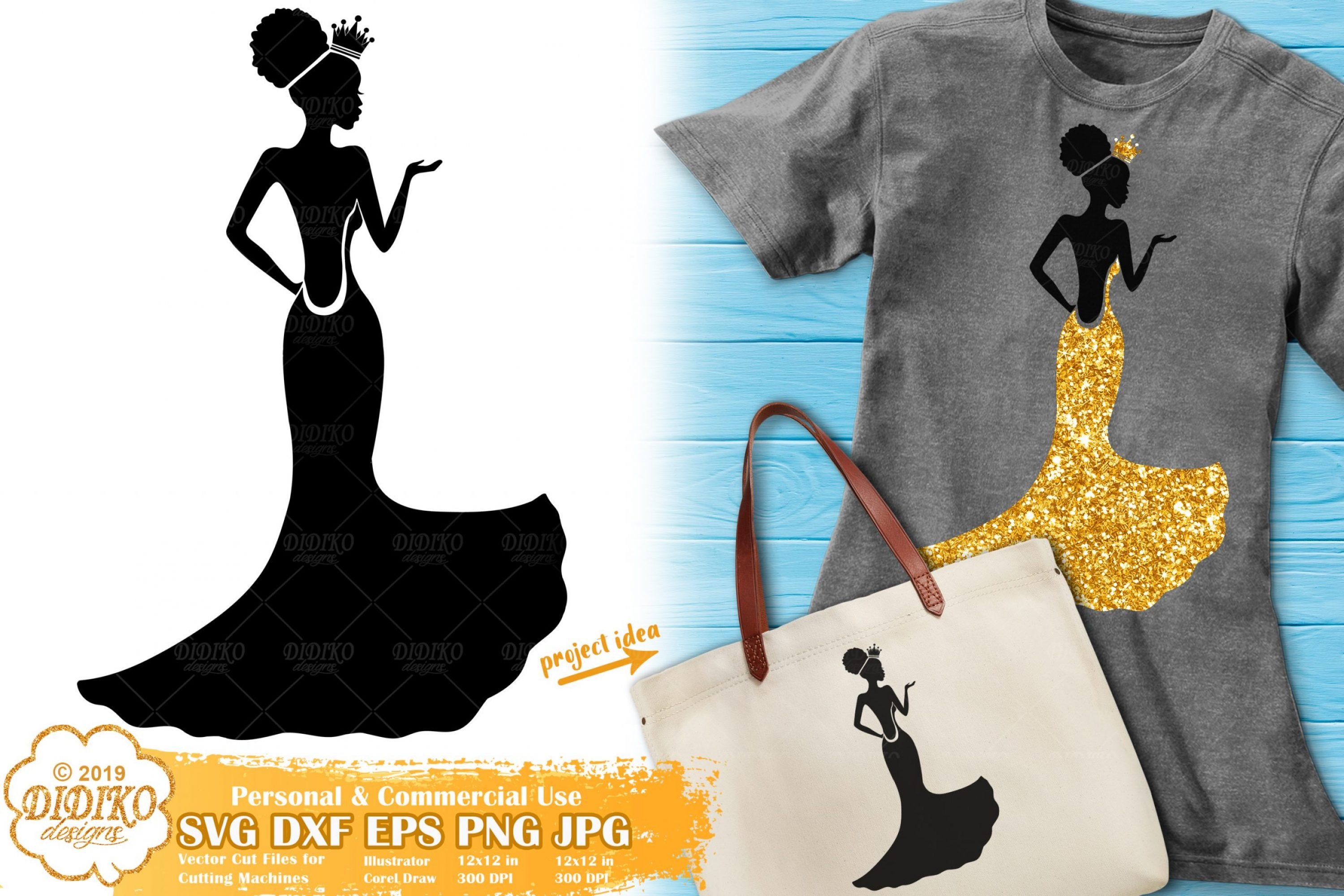 Prom SVG #1 | Black Woman Svg | Afro Woman SVG