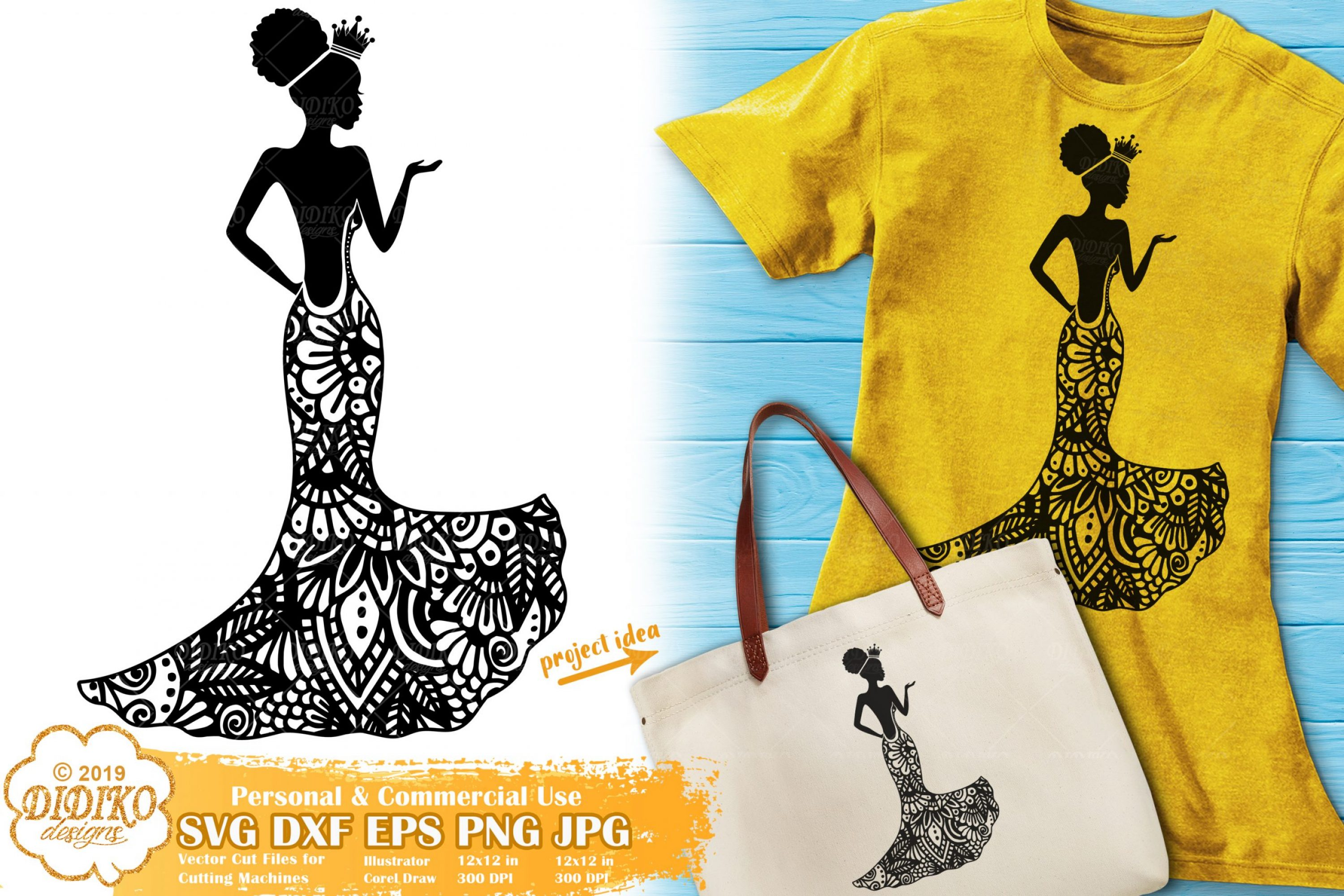 Prom SVG | Zentangle SVG Cut File | Black Woman Svg