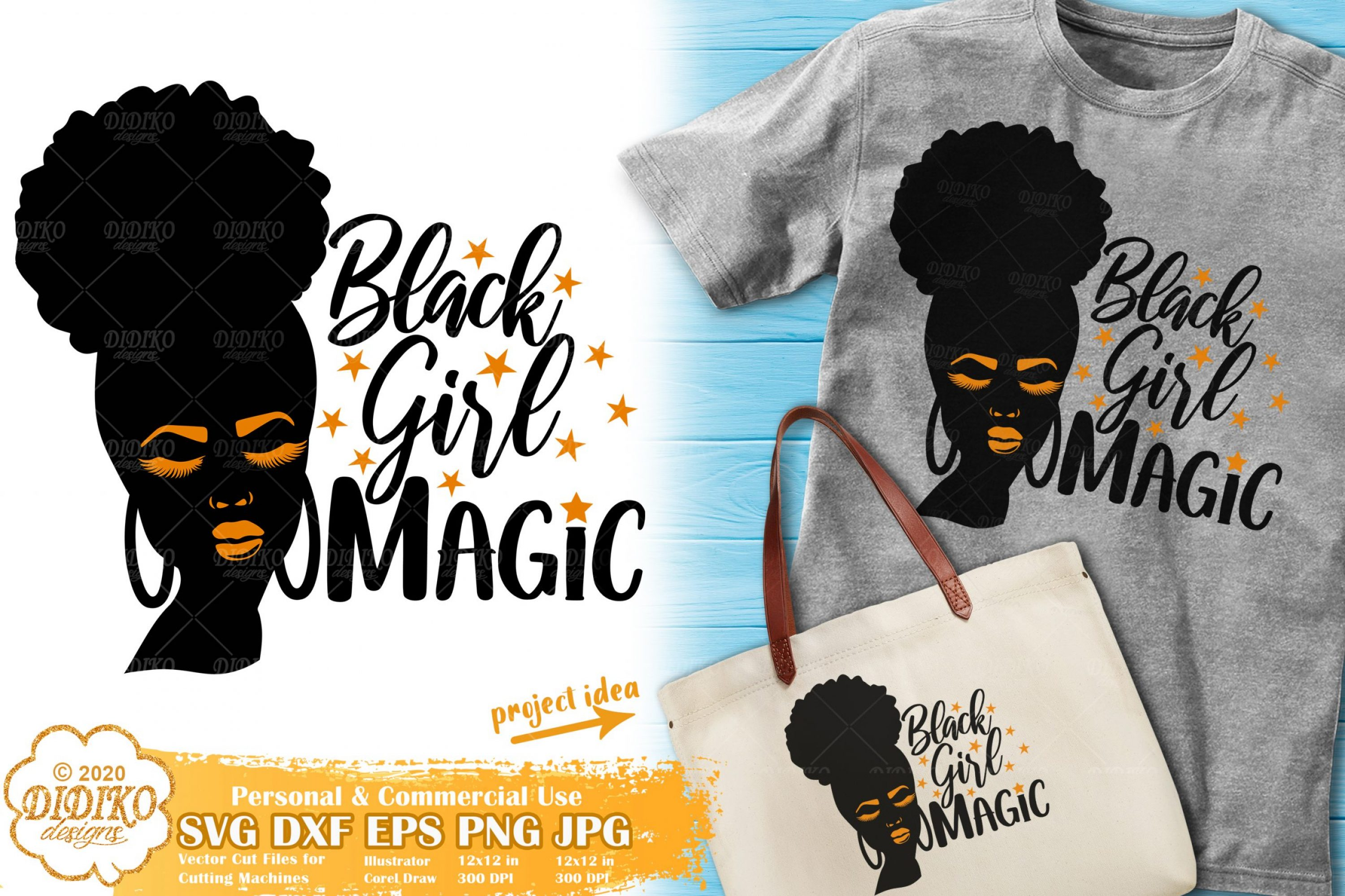 Black Girl Magic SVG #3 | Afro Woman Silhouette Svg
